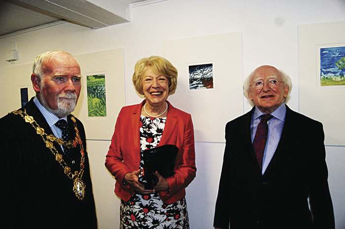 Mayor of Galway Cllr Donal Lyons with Mrs Sabina Higgins and President Michael D Higgins at the opening of the exhibition Galway, Doorway to Connaught at Galerie du Faouëdic, Lorient, on Saturday August 2 as part of the Festival Interceltique de Lorient.
