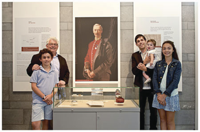 A posthumous painting of An Spidéal's George Morris by Irish-portrait artist William Orpen. Pictured with the painting are George Henry's grandson Lord Killanin; his great-grandchildren Luke, George, and Hannah; and great-great grandchild Rita. Photo:- Marta Barcikowska.