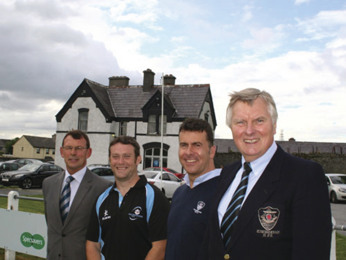 Pictured at the announcement of the new Galwegians RFC coach are:  Galwegians' president Joe Healy, new head coach Matt Brown, director of rugby Erc Dunne, and Galwegians chairman' Paul Shelly. Galwegians will open their division 1B campaign with a home game against Dublin University on Saturday September 13, while Corinthians are away to Ballymena.