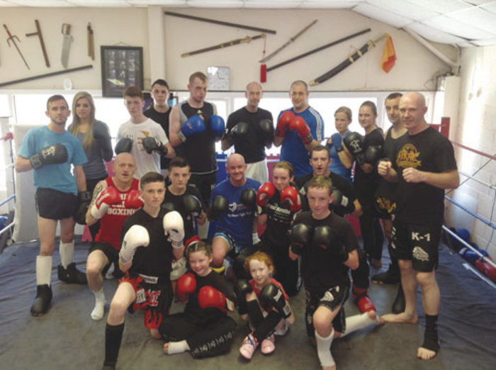 Pictured after the final sparring session in preparation for Sunday's fundraiser are: back row, John Walsh, Saoirse Joyce, Cian McCormack, Ryan Ali, Jamie O'Sullivan, Gary Manogue, Brendan Creaven, Catherine Cullinan, Leona Trautt, Marc McGettigan and coach Pete Foley. Middle row, Gary Elbert, James Kelly, Paul Huish, Chloe Collins, Adam Keane. Front row, Wesley Ward, Chloe Corcoran, Faith Foley, Alex Fitzpatrick.