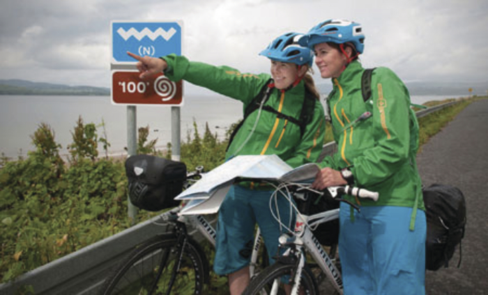 Finnish travel blogger Satu Vänskä-Westgarth (left) and her cycling companion Anne-Marit Storødegård, on her challenge to cycle the entire length of the Wild Atlantic Way.