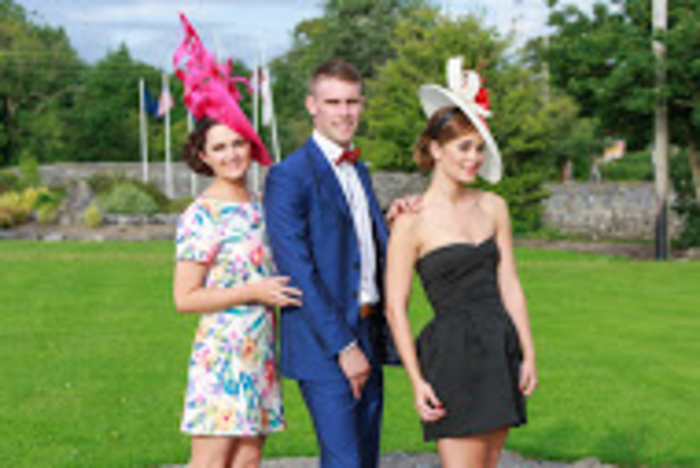 Pictured at the launch of the Clarenbridge Oyster Festival Best Dressed competition, sponsored by GALWAYnow magazine are milliner Jennifer Wyrnne; Brian Burke, PR and marketing for Clarenbridge Oyster Festival; and Aoibhinn O'Brien, sixtieth Clarenbridge Oyster Pearl.