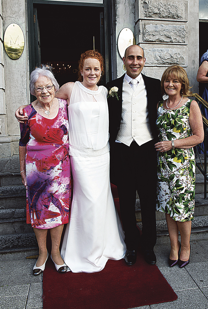 Family tradition: Patricia Burke and husband Erik do Oliveira Santos celebrate their wedding at the Hotel Meyrick with Patricia's grandmother Una and mother Olive, who were also married at the same hotel in 1948 and 1977 respectively