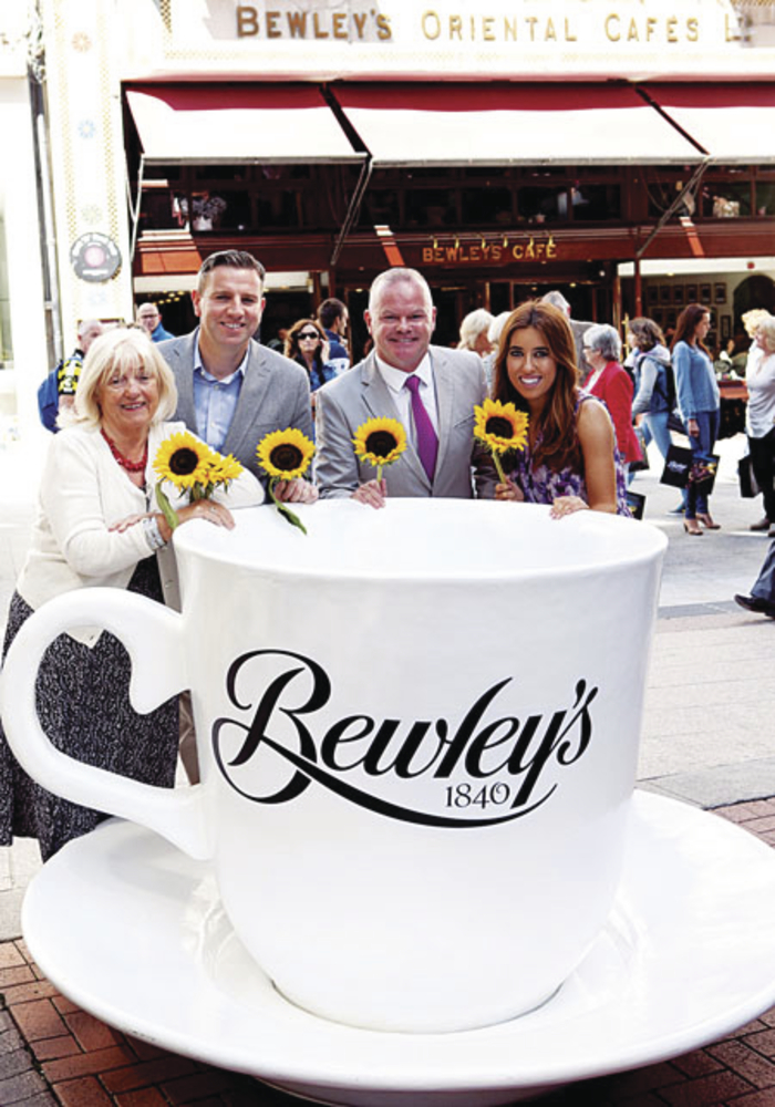 At the launch of Ireland's biggest coffee morning 2014 for Galway Hospice are: Veronica Campbell, director of Bewley Campbell Group;  Mark Saunders, brand director at Bewleys; Michael Craig of Galway Hospice; and Lottie Ryan.
