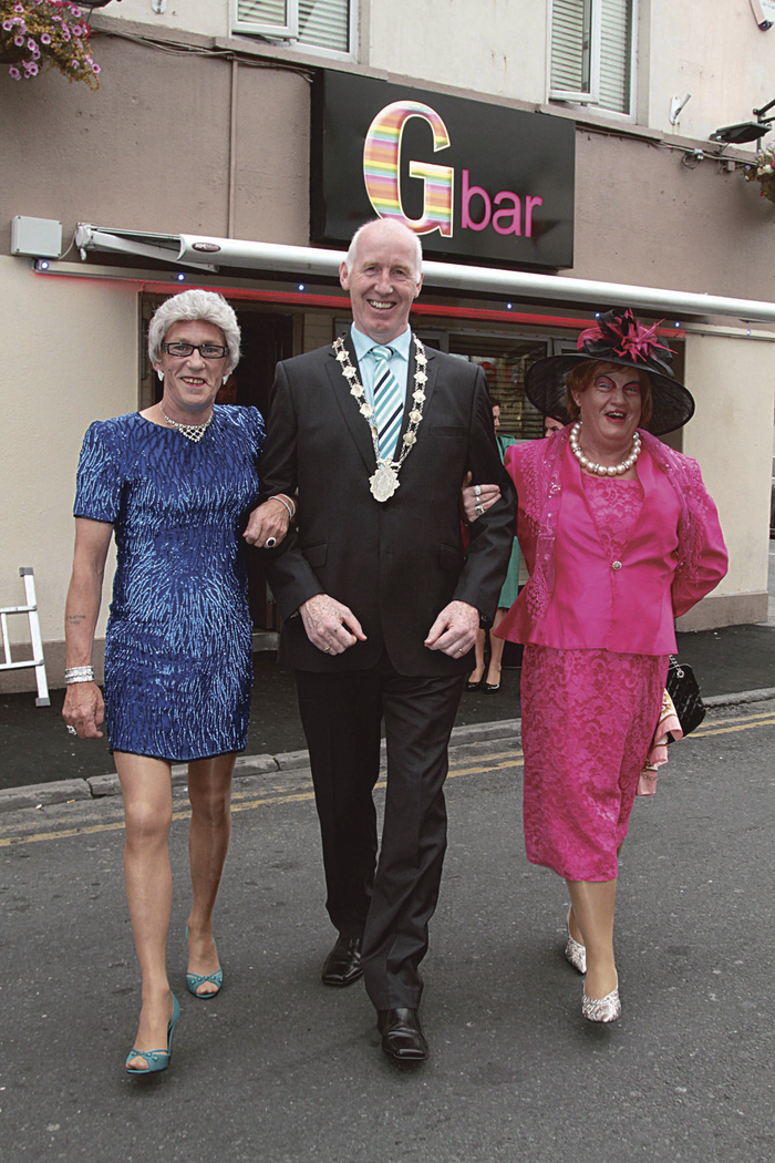 Stepping out: Deputy Mayor John Walsh joins veteran Galway Pride marchers Eileen Dover ( John Curlett) and Thomasina at the launch on Monday of Galway Pride Week. The week of celebrations will include Ireland's longest established Pride Parade which has run for twenty five years and takes place on Saturday. Photo:-Mike Shaughnessy