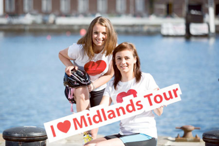 Edel Byrne and Ellen McMeel at the launch of the Tour of the Midlands. Photo: Andres Poveda