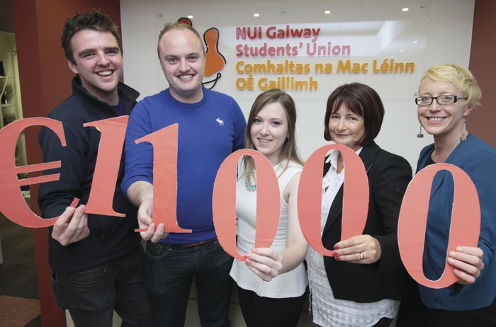 Pictured left to right are Phelim Kelly (NUI Galway SU Education), Declan Higgins (NUI Galway SU president), Aoife Ní Shúilleabháin (NUI Galway SU Welfare), Carmen Taheny (ISPCC), and Aoife Lee (Galway Rape Crisis Centre). Photo: Mike Shaughnessy.
