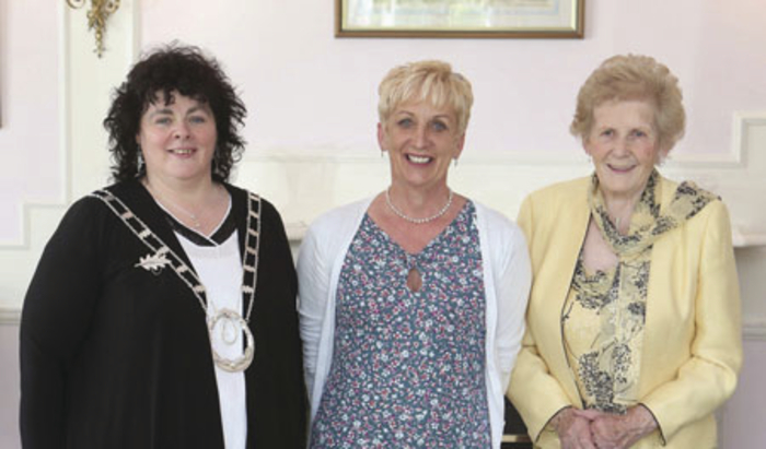 Margaret Jennings from Westport, with Liz Wall, president of the ICA, and Anna May McHugh of the National Ploughing Association.