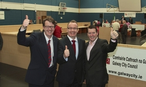 Cllr Pearce Flannery (centre). If he gets support for his motion fellow councillors like Niall McNelis (left) and Peter Keane (right) will no longer be alble to erect posters during elections. Photo:- Mike Shaughnessy.