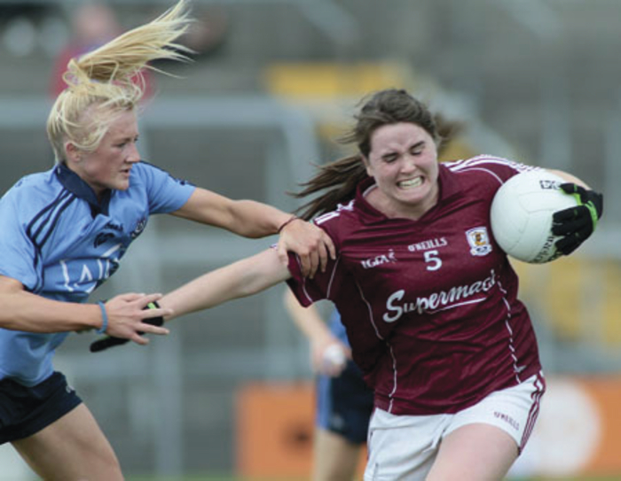 Galway's Nicola Ward comes under pressure from Dublin's Carla Rowe in action from the TG4 All Ireland Championships semi-final at Cusack Park, Mullingar on Saturday.  Photo:-Mike Shaughnessy
