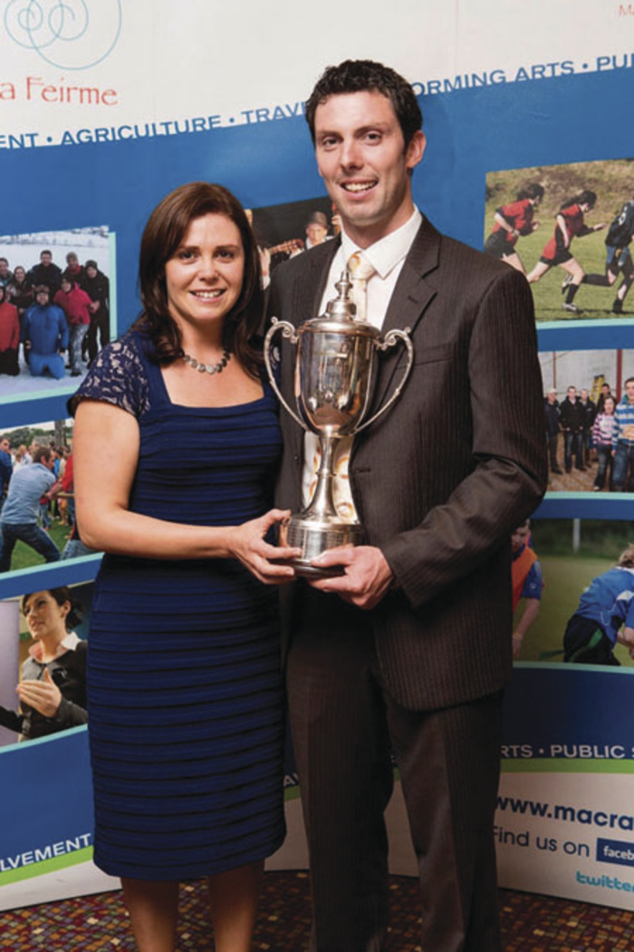 FBD Young Farmer of the Year 2014, Sean O'Donnell, from Ballina, celebrates with his wife Jackie.