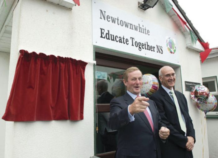 Taoiseach Enda Kenny at Newtownwhite ETNS on Monday with Educate Together CEO Paul Rowe. Photo: Michael McLaughlin.