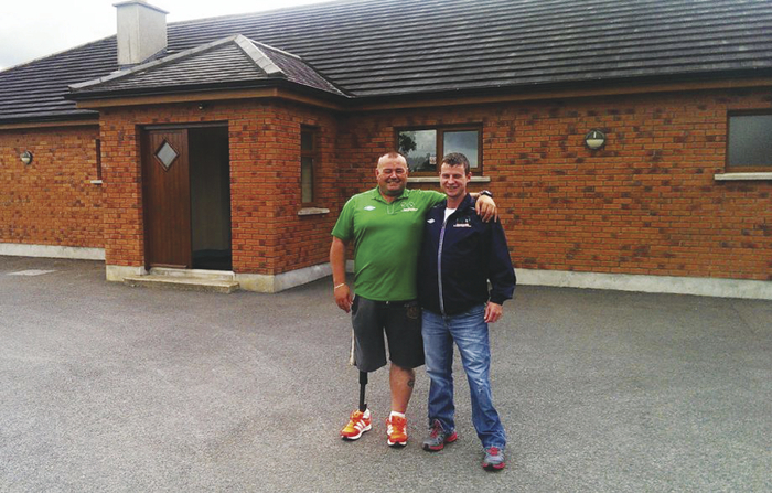 Manager of the Irish amputee soccer team Christy McElligot and team member Donal Bligh inspecting training facilities in Moate recently