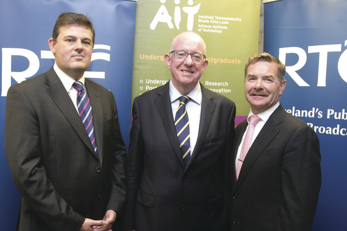 RTÉ deputy director Kevin Bakhurst; Minister for Foreign Affairs and Trade Charlie Flanagan; and Professor Ciarán Ó Catháin at the official opening of the RTÉ Studios in AIT on Monday. Photo: molloyphotography