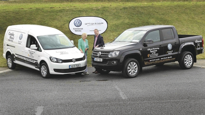 Anna May McHugh, National Ploughing Association with Alan Bateson, managing director of  Volkswagen commercial vehicles at the announcement that it has once again been selected as official vehicle sponsor for the National Ploughing Championships which will take place from September 23 in Ratheniska, Stradbally, Co Laois.