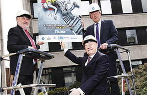 A new health and safety campaign aimed at increasing 'Safety at Heights' on construction sites is being rolled out around the country. Falls from heights were responsible for 24 of the 42 construction related deaths that occurred in the last five years. Pictured at the launch of the campaign were (left to right) - Martin O'Halloran, chief executive of the Health and Safety Authority; Eddie Kelly, managing director of the Grafton Group; and Tom Parlon, director general of the Construction Industry Federation. Picture Conor McCabe Photography.