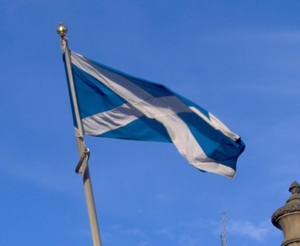 The St Andrew's Saltire, the national flag of Scotland, flying in Edinburgh. Photo: Kernan Andrews