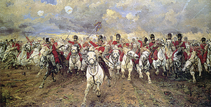 Elizabeth Butler's classic painting 'Scotland Forever!' depicting the Royal Scots Grey's moment of greatness at Waterloo June 18 1915.