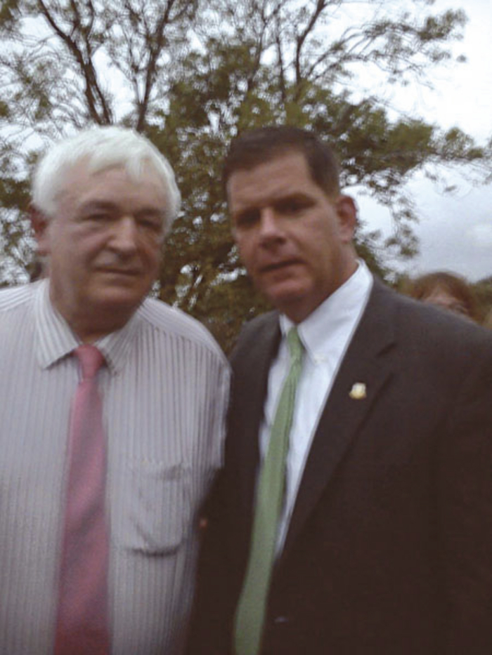 Martin Nee, Chairman, Big O Taxis pictured with Marty Walsh, Mayor Of Boston in Rosmuc this week..