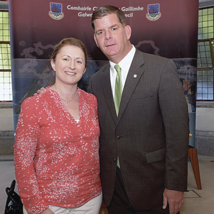 Mayor of Boston Marty Walsh met many relatives when he was home this week, including Galway Advertiser journalist Martina Nee. Picture: Joe Travers