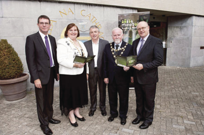Kevin Kelly, chief executive Galway County Council; Cllr Mary Hoade, Cathoirleach Galway County Council; Brian Thornton KMPG; Cllr Donal Lyons, Mayor of Galway City; and Brendan McGrath, chief executive Galway City Council