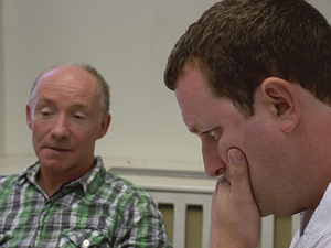 Actor Diarmuid De Faoite and director Andrew Flynn in rehearsals for Defender of the Faith.