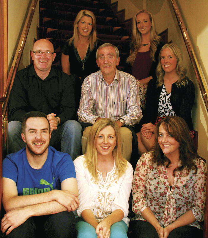 The cast of Sweet Charity, from back row, left to right: Vivienne Lee, Sharlene Ruane, Richie Heneghan, Liam Newman, Simone Dooley, Michael Goulding, Karen Ronane and Mary Dempsey. Absent: Kate Hughes, Angela Prenty.