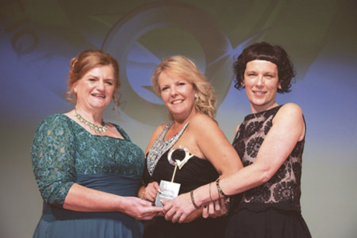 Accepting the award for - Best Food Services Team in Ireland for Hygiene and Food Safety at this year's National Q Mark Awards were Anne Kenny and Fiona Gillespie from COPE Galway Community Catering, with the award being presented by Irene Collins, MD of the Irish Q mark awards.