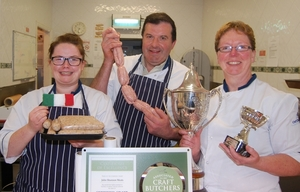 TOP TEAM: The team from Shannons Butchers in Kiltimagh celebrate their national 'Sausage of the Year' win. Photographed in the shop on Aiden Street are Nicola Fahey, who has worked at the shop since 2008, and John and Marion Shannon. Photo: Mike Roache.
