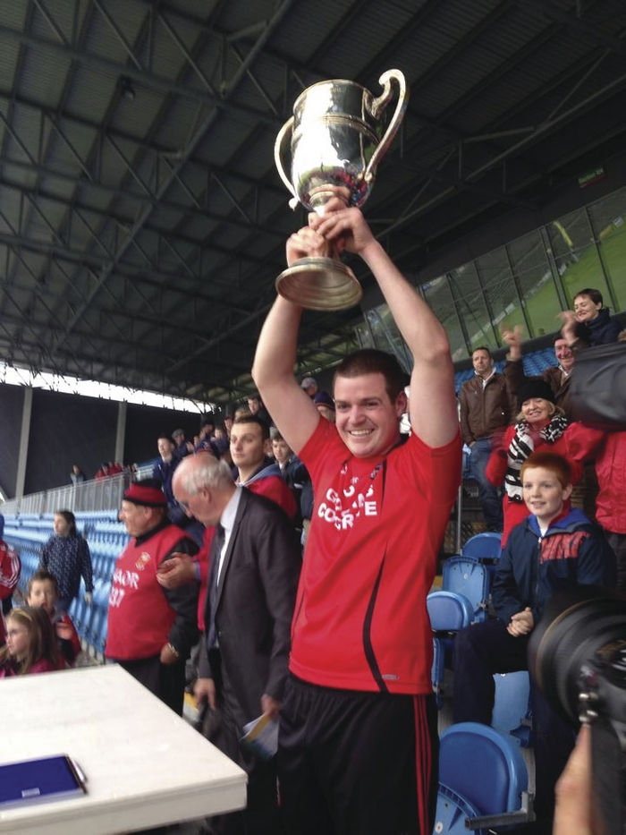 Captain fantastic: Liam Lyons lifts the Sweeney Cup. Photo:@mayogaa
