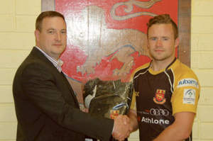 Alan Gaughan is presented with the Audi Athlone Man of the Match award by Richard Hickey, Michael Moore Car Sales.