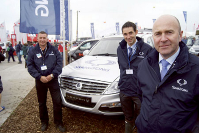 Pictured (l-r) at the National Ploughing Championships were: Laur Prisacariu, head of vehicle maintenance with a Rexton W; John Keogh, dealer development manager; and Joe Harris, CEO SsangYong Motors Ireland.
