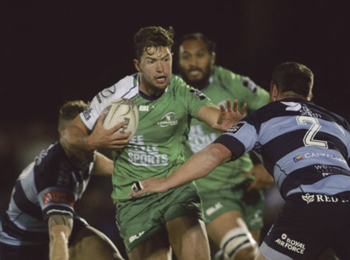 Connacht's Danie Poolman hands off Cardiff Blues captain Matthew Rees in action from the Guinness Pro12 game at the Sportsground on Friday night. Photo:-Mike Shaughnessy