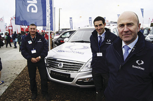 Pictured (L-R) at the National Ploughing Championships were: Laur Prisacariu, head of vehicle maintenance with a Rexton W, John Keogh, dealer development manager, and Joe Harris, CEO SsangYong Motors Ireland.