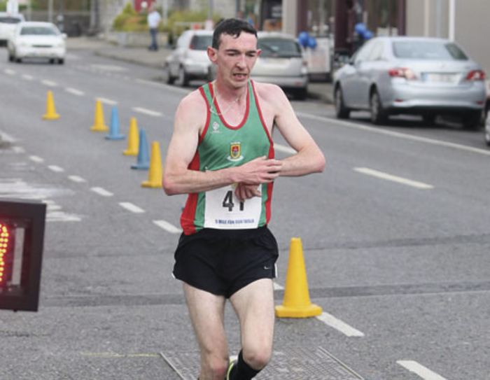 Brendan Hession (Mayo AC) comes home in first place with a time of 29:33 in the DeCare Dental Sport a Smile Claremorris Five Mile Race. Photo:Michael Donnelly
