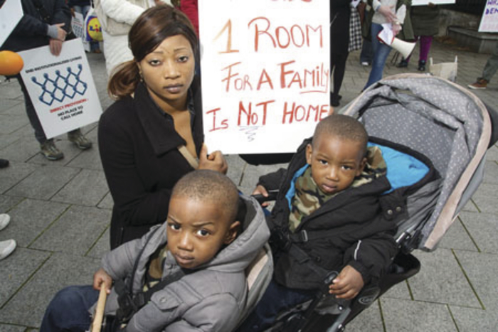 Asylum seekers from the Old Convent in Ballyhaunis are appealing to the Taoiseach to end direct provision. Photo: Alison Laredo.