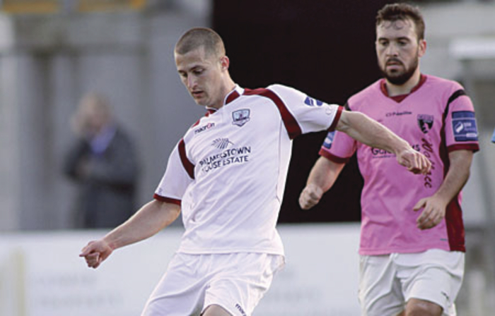 The goalscoring prowess of Jake Keegan,  in action against Wexford Youths on Sunday, could be crucial against Shelbourne in tomorrow evening's first leg play-off.  Photo:-Mike Shaughnessy
