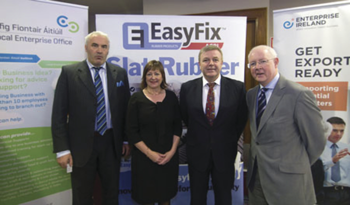 Exporting awareness: James Geraghty, (Molloys Lifestyle Pharmacy & Health Stores, Ballina, Co Mayo), Breda Fox (head, Local Enterprise Office, Galway), Michael Earls (Easyfix, Ballinasloe, Co Galway) and Barry Egan, (director, Enterprise Ireland, West Region) at the Get Ready to Export Event.