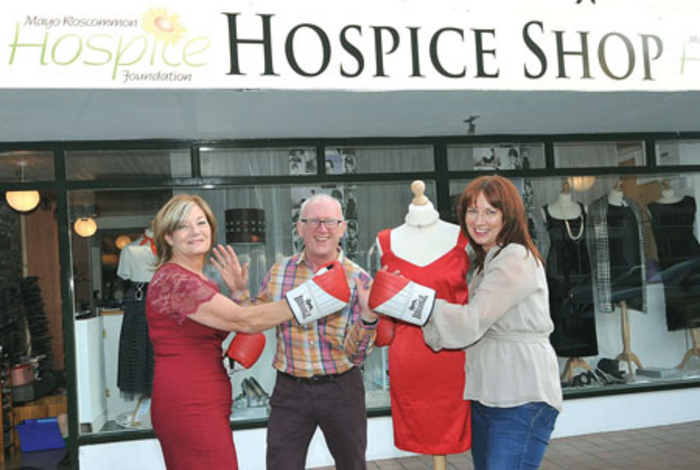 Photographed launching the Battle of the Shops were: Rita Mylett, of Atir Shapewear, who is a judge on the night; Dermot Langan, MC for the event; and Emer Quinn, hospice shop manager, Westport.