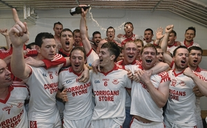 Celebration time: Ballintubber celebrate in the dressing room after their win. Photo:Sportsfile