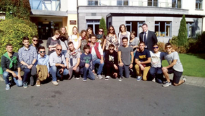 The Italian students pictured with Alan McCaul, manager of the Shamrock Lodge Hotel
