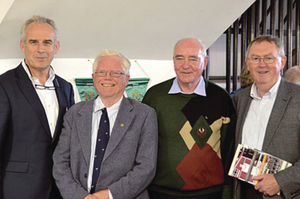 Pictured at the rededication of the Coláiste Iognáid boathouse at the weekend to mark eighty years of the rowing club were (l to r); Colm O'Donnellan, Brendan Healy, Fr Murt Curry SJ, and Sean O'Rourke.