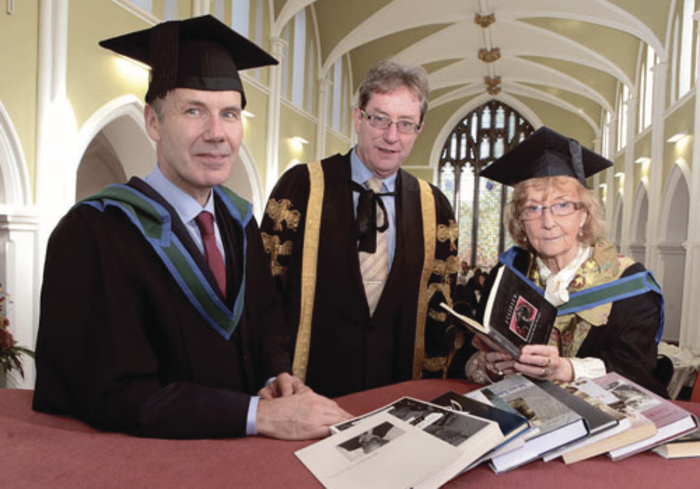 Pictured at the conferrings at NUI Galway, from left: Charlie Byrne, president of NUI Galway, Dr Jim Browne, and Patricia Burke Brogan.