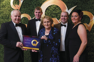 Winning smiles: Martin Roper (Technical Director, EIQA), Joe Cuffe, Margaret Cuffe, Brendan Deane and Deirdre Cuffe at the Hygiene and Food Safety Awards