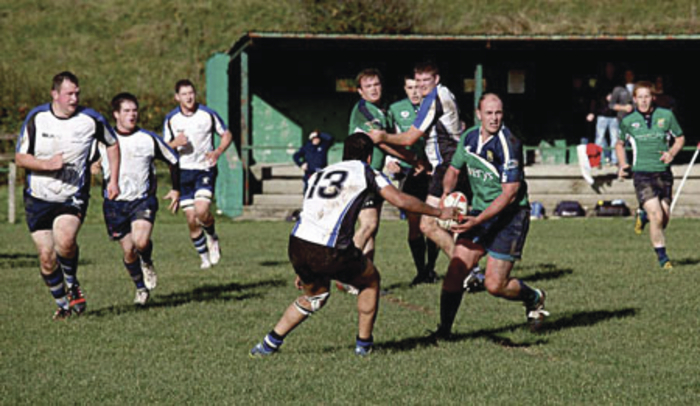 Getting it away: Ballina's Richard Morrow looks to lay off the ball last weekend against Corinthians. Photo: Ballina RFC