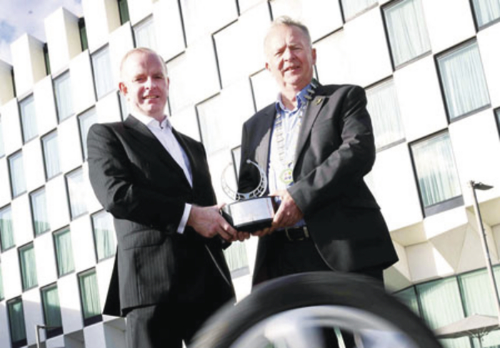 Tom Dennigan of Continental Tyres Ireland with Austin Shinnors, chairman of the IMWA, outside The Marker Hotel, Grand Canal Square, where the Continental Irish Car of the Year awards event will be held on Friday November 28.