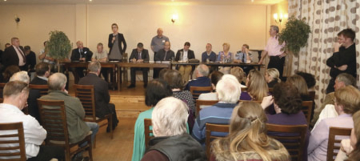 Four hundred people, including gardaí, TDs and forecourt owners, attended the initial meeting on petrol stretching in the Gateway Hotel, Swinford, last month. Photo: Michael Donnelly.