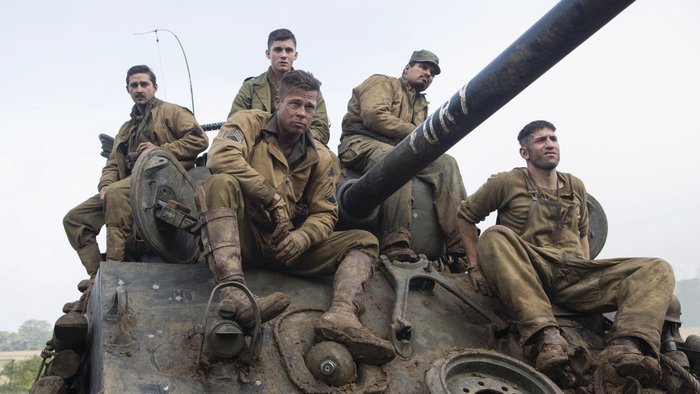 Brad Pitt leads his men across war torn Europe in Fury.