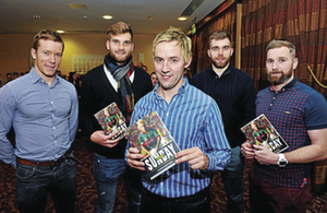 Old friends: Conor Mortimer at the launch of his book One Sunday, with his former Mayo team-mates, Donal Vaughan, Aidan O'Shea, Seamus O'Shea and Michael Conroy. Photo: Sportsfile.