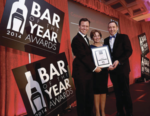 Luke and Caroline Flanagan, from Flanagan's Gastro Pub, Brickens, photographed with Anton Savage, at the Bar of the Year awards on Tuesday.